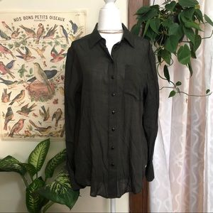 Free People Forest Green Button Down Blouse
